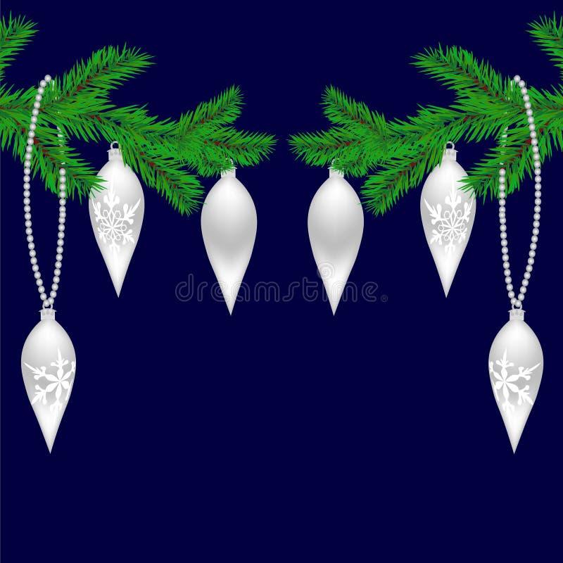 Deux branches vertes de sapin avec des jouets pendant la nouvelle année Branches impeccables de Noël Plan rapproché Noël illustration libre de droits