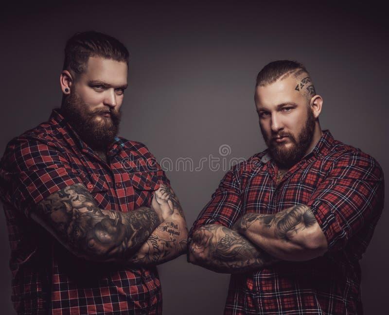 Deux brutaux équipe avec des barbes image libre de droits