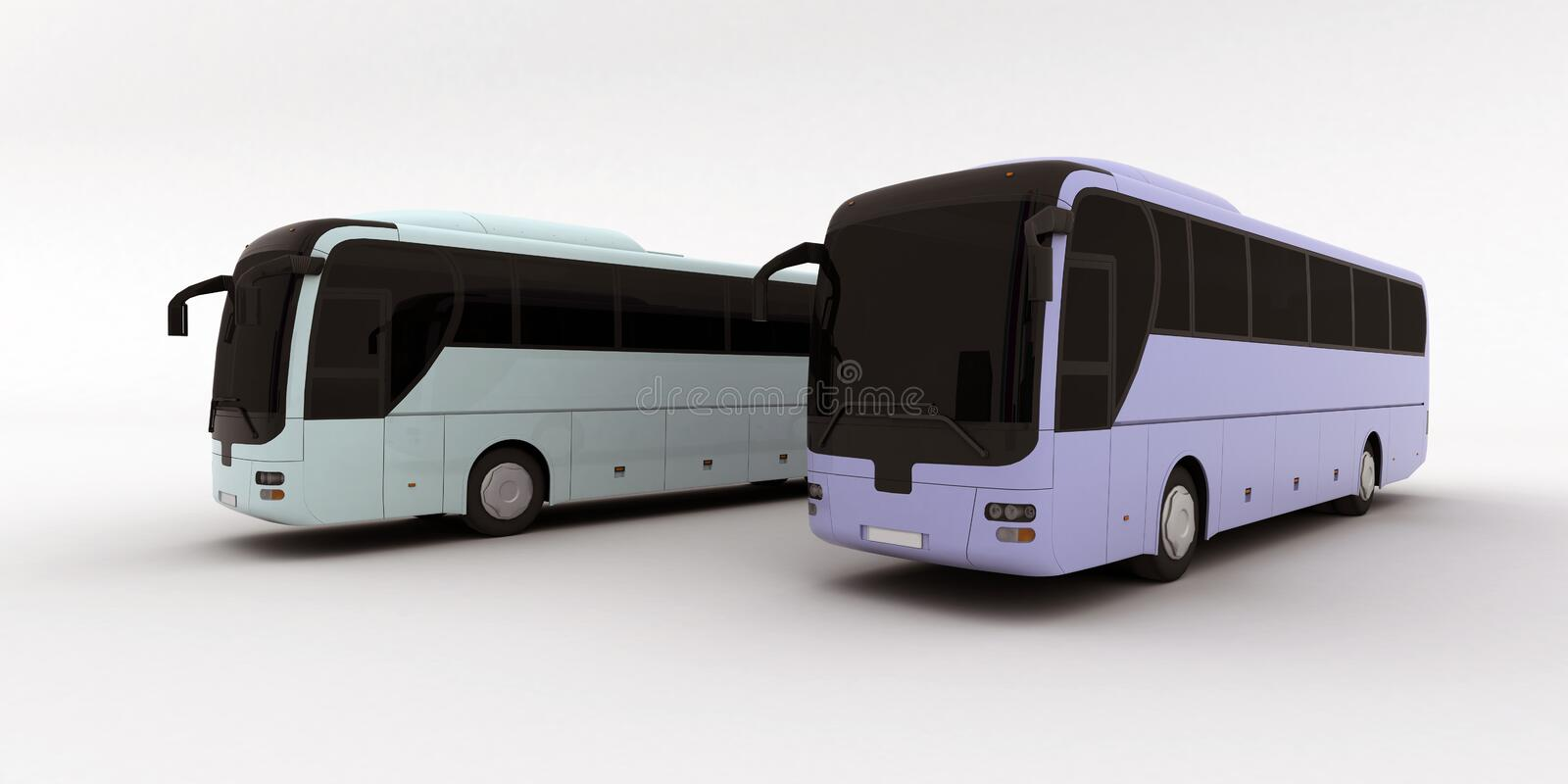 Deux bus illustration de vecteur