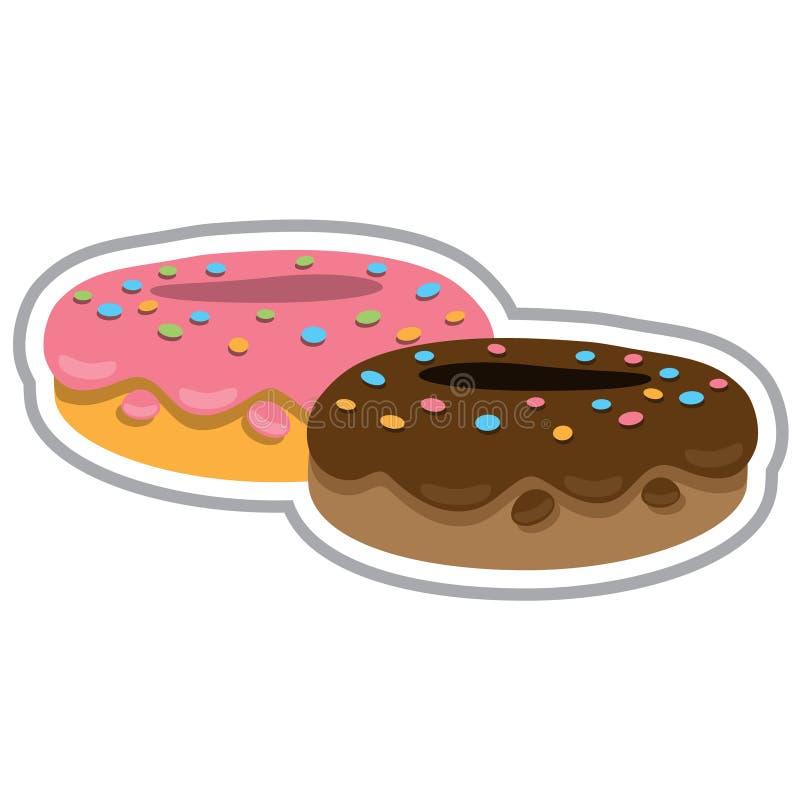 Deux butées toriques avec le fondant et la fraise de chocolat Illustration de couleur des desserts et des pâtisseries illustration stock