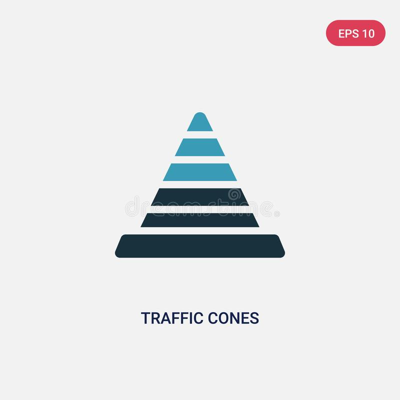 Deux cônes du trafic de couleur dirigent l'icône de signaler le concept le symbole bleu d'isolement de signe de vecteur de cônes  illustration libre de droits