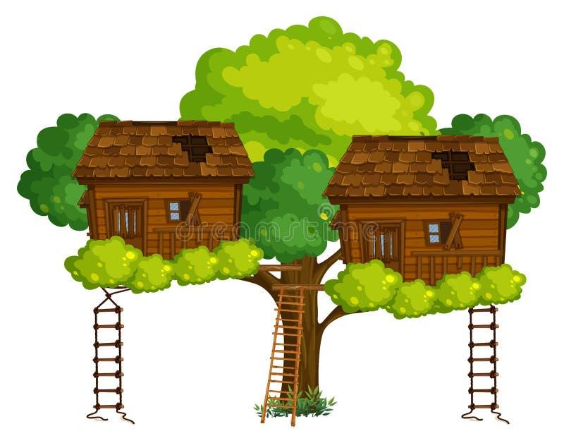 Deux cabanes dans un arbre sur l'arbre illustration de vecteur