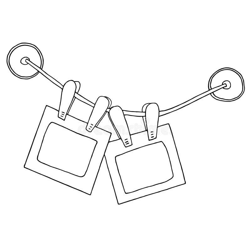 Deux cadres accrochants de photo avec des agrafes sur les tasses d'aspiration de corde et de silicone illustration libre de droits