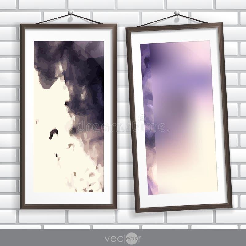 Deux cadres de photo sur un vieux mur rayé illustration libre de droits
