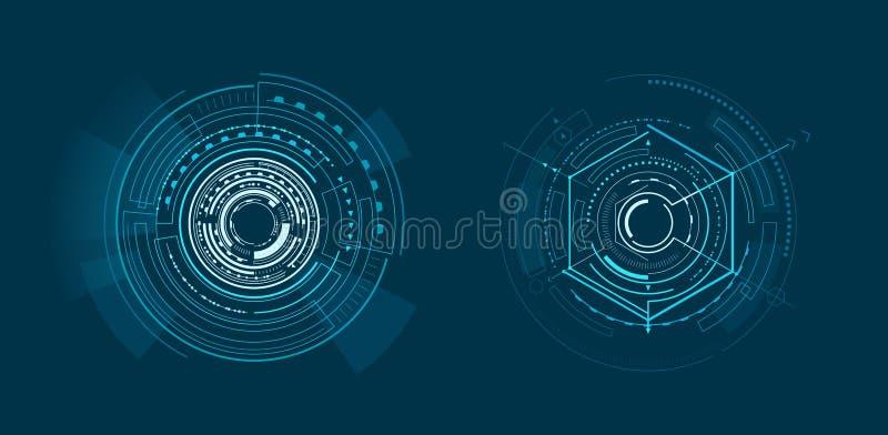 Deux calibres de bannière géométrique d'interface lumineuse illustration stock
