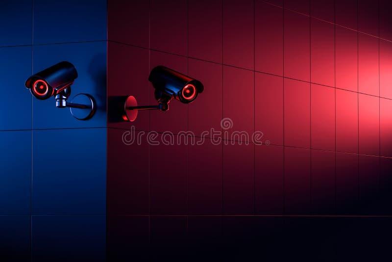Deux cam?ras de t?l?vision en circuit ferm? de s?curit? sur le coin de mur ; l'espace de copie pour le texte Le bon et mauvais c? illustration stock