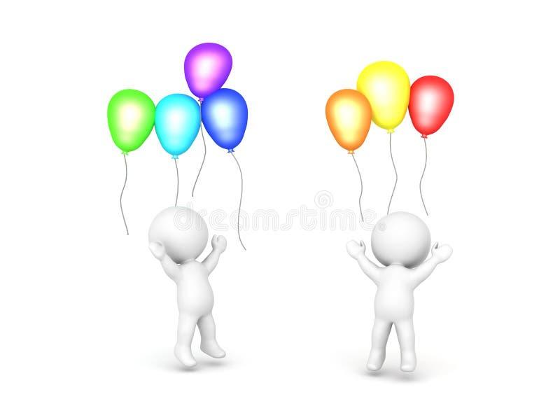 Deux caractères 3D célébrant avec des ballons illustration libre de droits