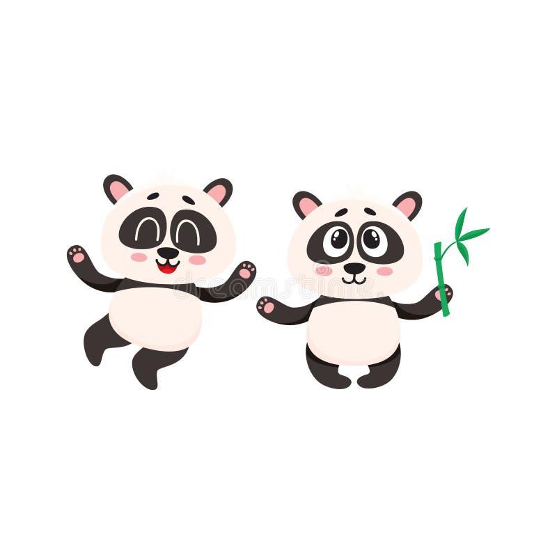 Deux caractères heureux mignons de panda de bébé avec des pattes augmentées  illustration libre de droits