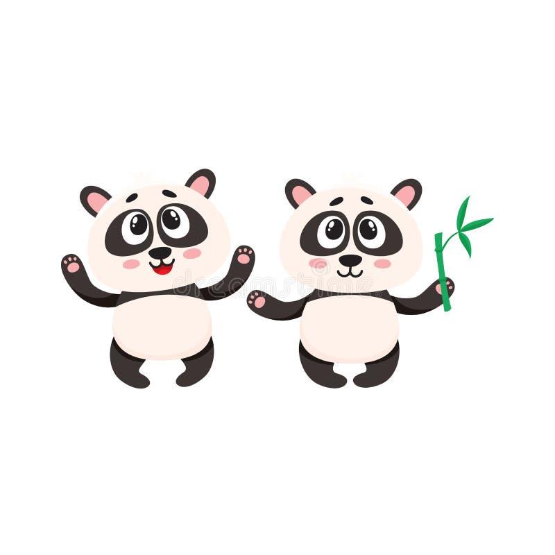 Deux caractères heureux mignons de panda de bébé avec des pattes augmentées  illustration stock