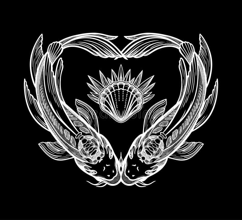 Deux carpes sous forme de coeur, symbole d'harmonie Illustration de vecteur d'isolement Art spirituel pour le tatouage illustration stock