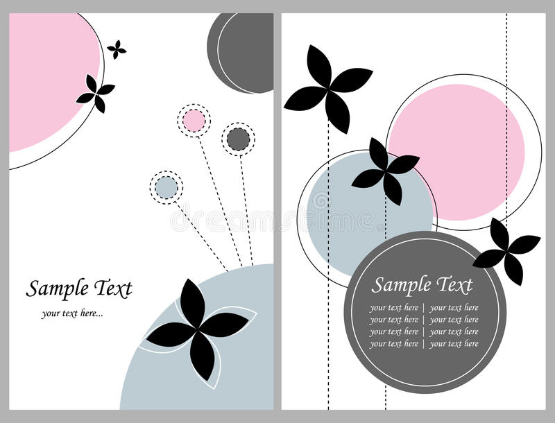Deux cartes de voeux florales illustration de vecteur