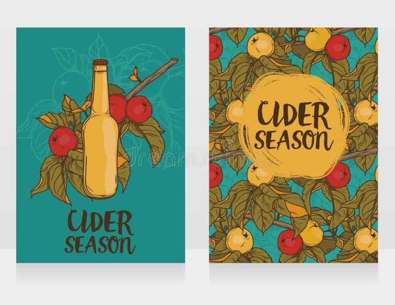Deux cartes pour le cidre assaisonnent avec la belle branche du pommier et la bouteille de cidre illustration stock