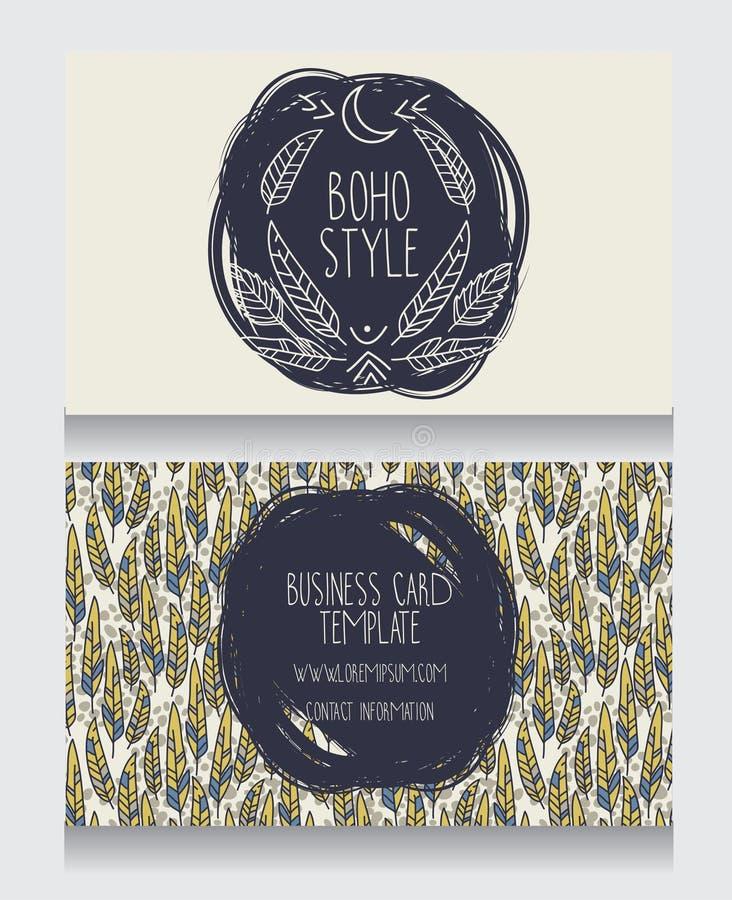 Deux cartes pour le style de boho illustration libre de droits