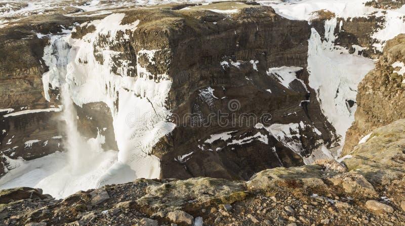 Deux cascades congelées en Islande photographie stock libre de droits