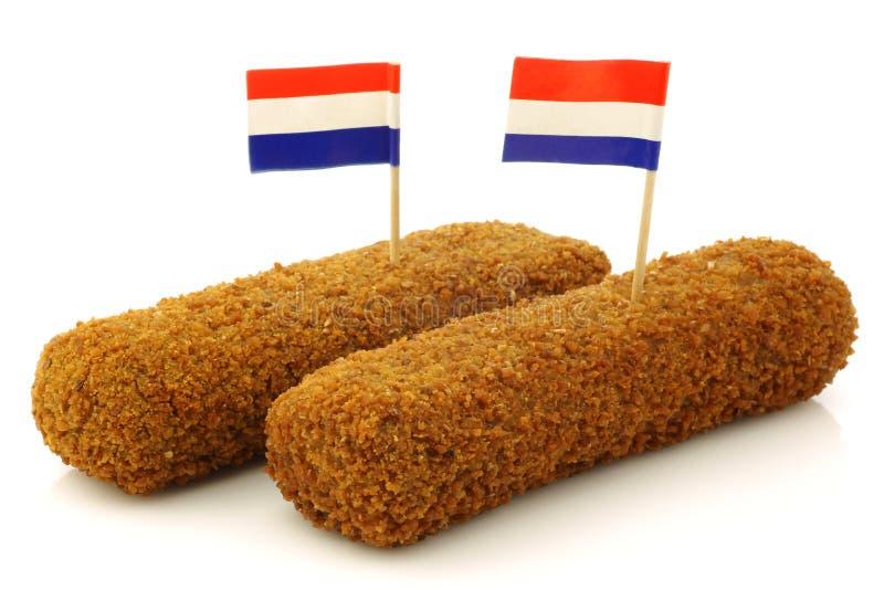 Deux casse-croûte hollandais ont appelé le kroket photographie stock libre de droits