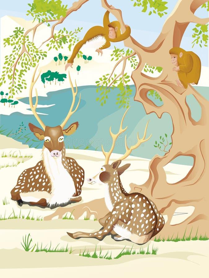 Deux cerfs communs de Kawanabe Kyosai illustration libre de droits