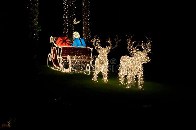 Deux cerfs communs de Noël et un chariot rougeoient dans l'obscurité image libre de droits