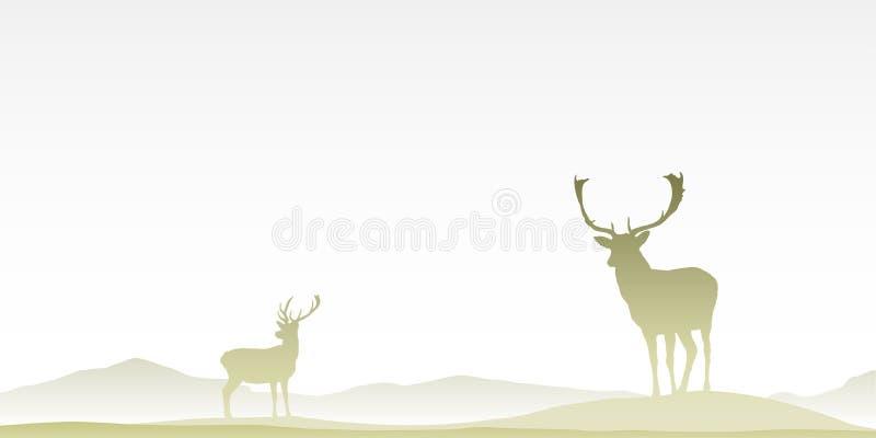 Deux cerfs communs masculins de mâle illustration libre de droits