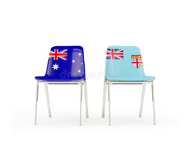 Deux chaises avec des drapeaux de l'Australie et du Fiji illustration libre de droits