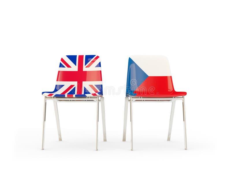 Deux chaises avec des drapeaux de la République Tchèque BRITANNIQUE et d'isolement sur le blanc illustration de vecteur