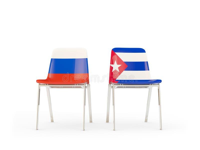 Deux chaises avec des drapeaux de la Russie et du Cuba d'isolement sur le blanc illustration de vecteur