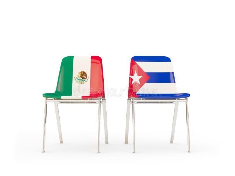 Deux chaises avec des drapeaux du Mexique et du Cuba d'isolement sur le blanc illustration stock