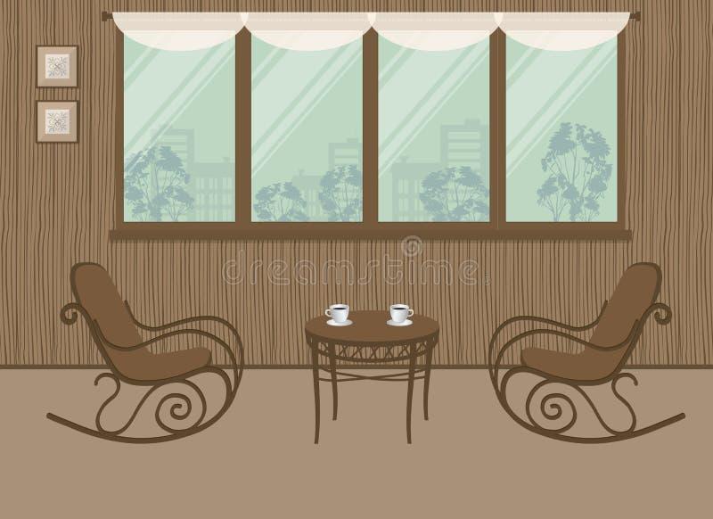 Deux chaises de basculage et une table basse sur le fond de fenêtre illustration de vecteur