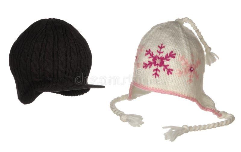 Deux chapeaux différents d'hiver photos libres de droits