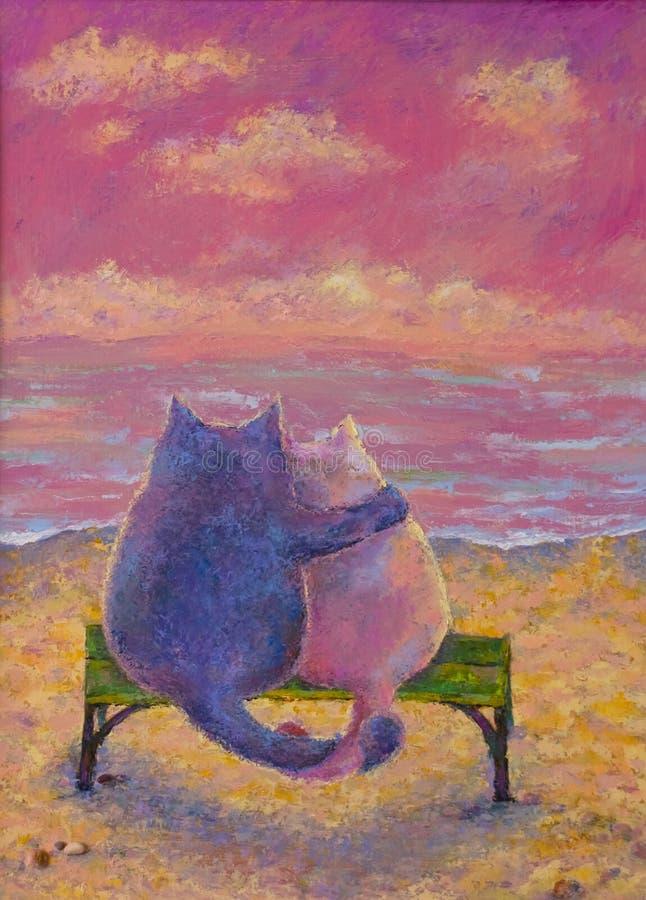Deux chats illustration de vecteur