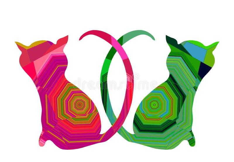 Deux chats dans l'amour avec le modèle abstrait coloré illustration de vecteur