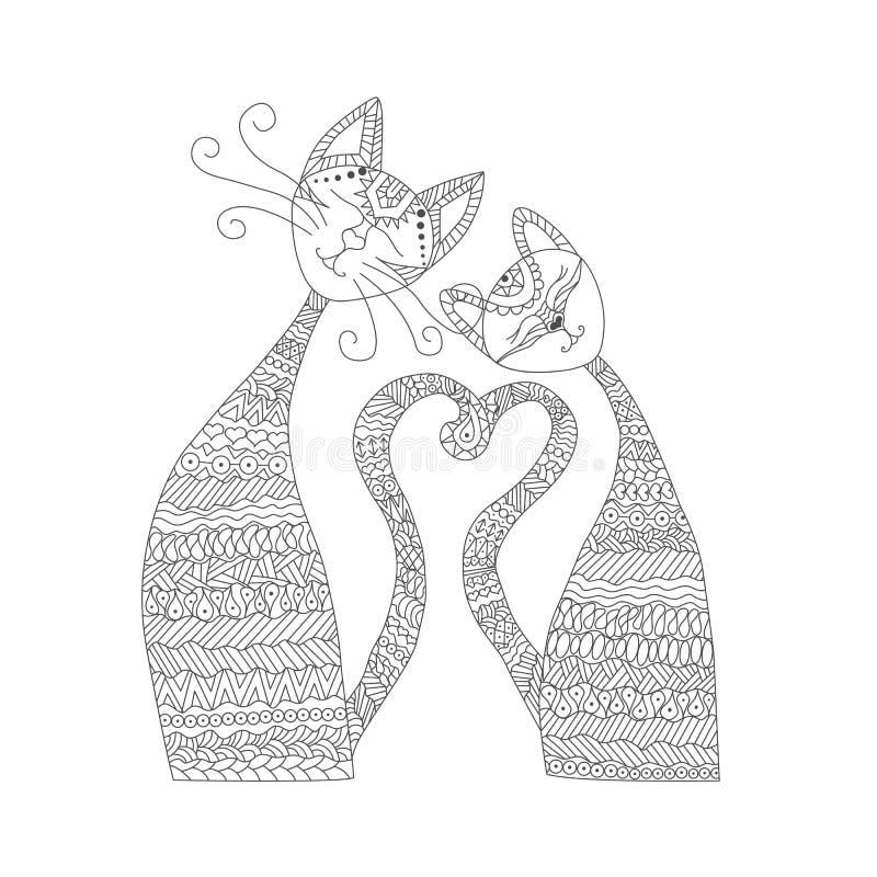 Deux chats dans l'amour Livre de coloriage Antistress Les éléments tirés par la main pour vos conceptions s'habillent, affiche, c illustration de vecteur