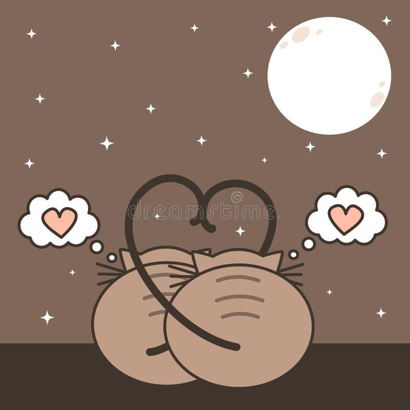 Deux chats dans l'amour observant la lune illustration mignonne de vecteur de bande dessinée de romanitc illustration de vecteur