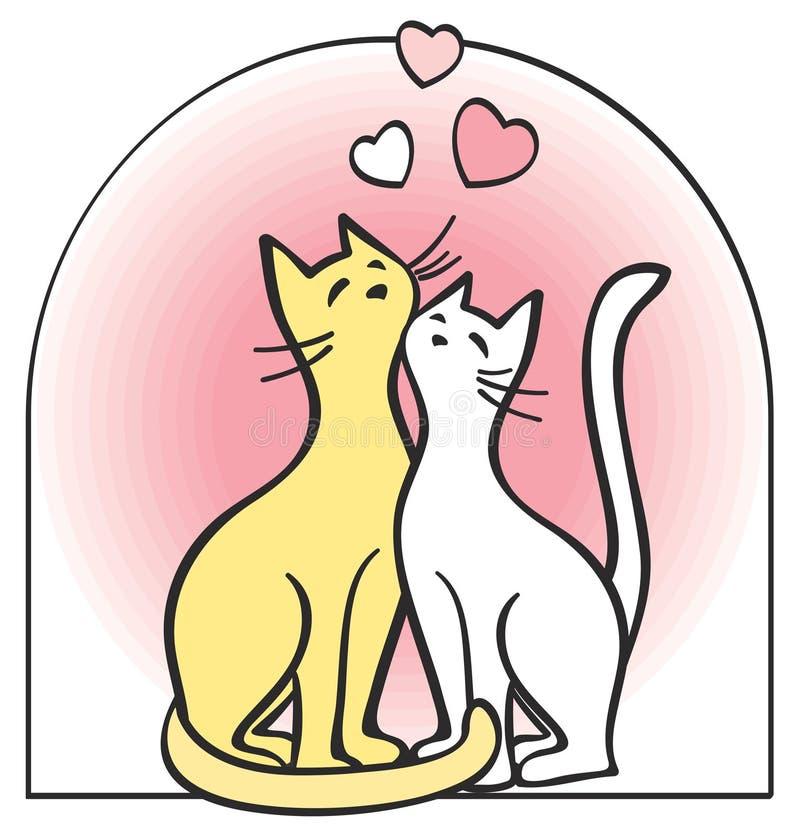 Deux chats dans l'amour. Vecteur. illustration libre de droits