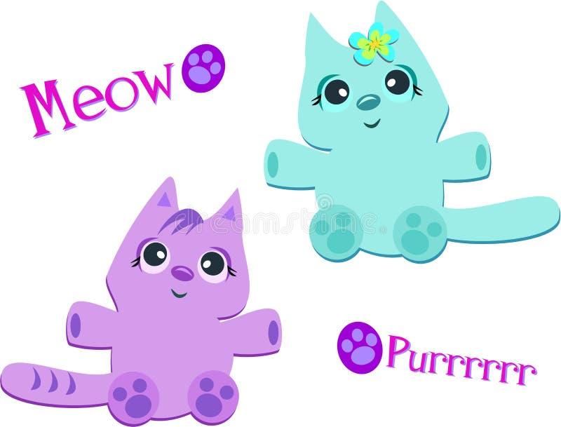 Deux chats Meow et Purrrr illustration libre de droits
