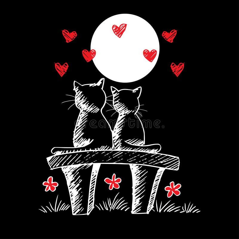 Deux chats mignons dans l'amour illustration stock