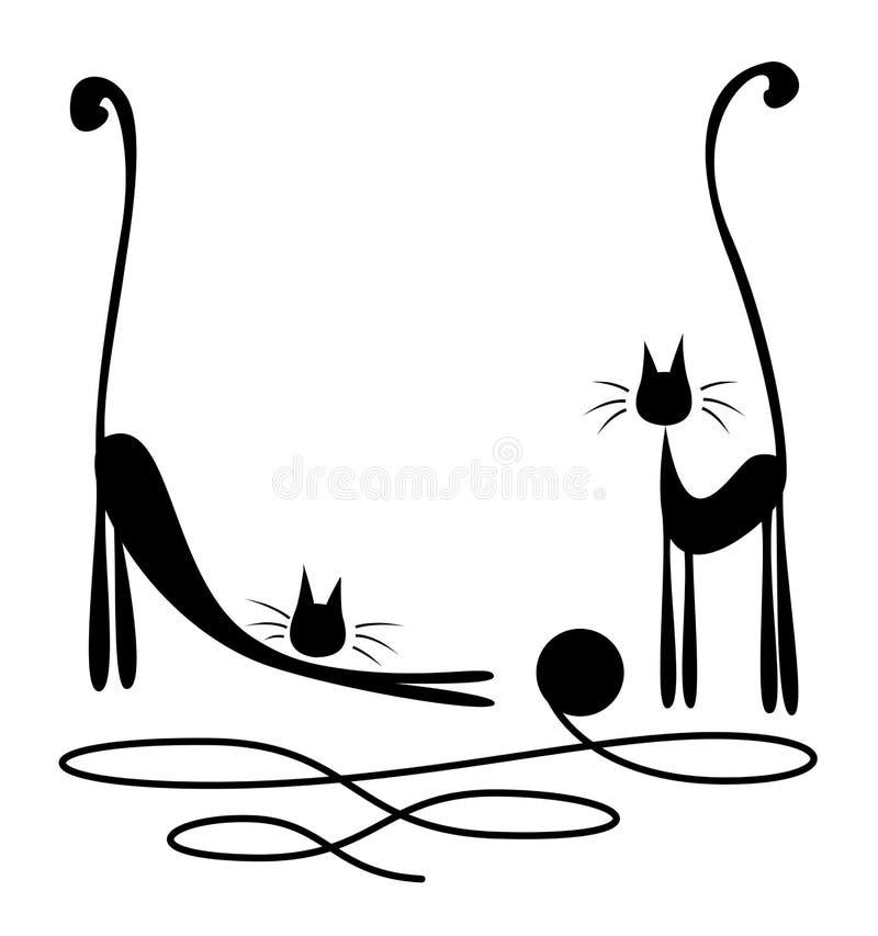 Download Deux chats noirs illustration de vecteur. Illustration du heureux - 28028488