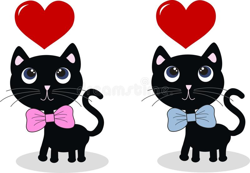 Deux chats noirs doux illustration libre de droits