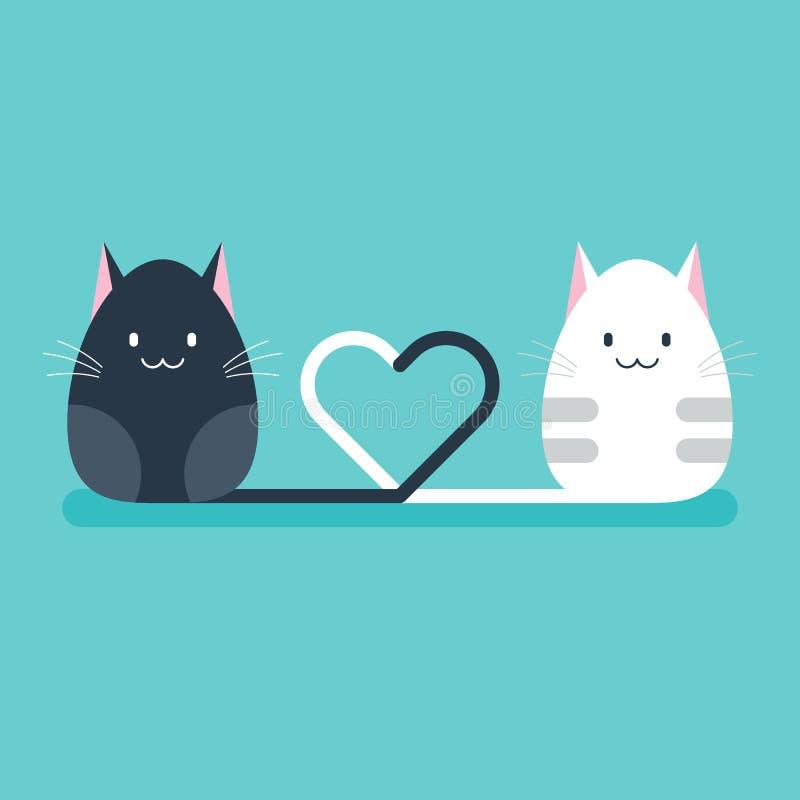 Deux chats ont attaché des queues ensemble dans le concept de Saint-Valentin de forme de coeur illustration libre de droits