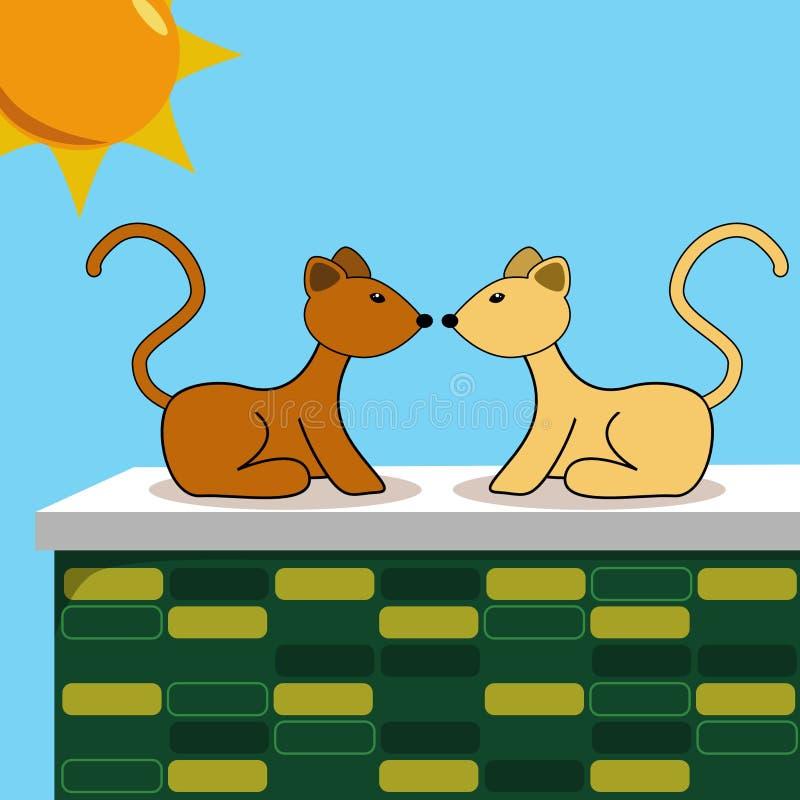 Deux chats sur le mur de briques illustration stock