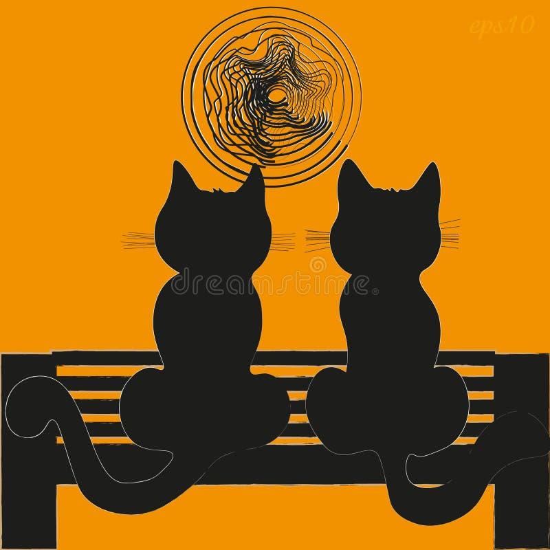 Deux chats sur un banc illustration libre de droits