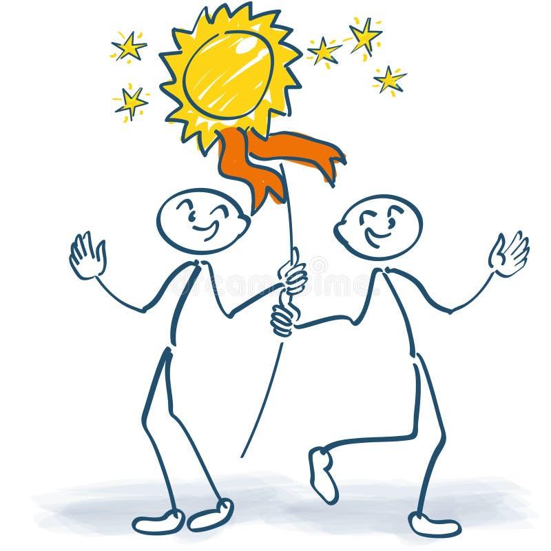 Download Deux Chiffres De Bâton Avec Une Plaque Illustration de Vecteur - Illustration du alternative, heureux: 77157342