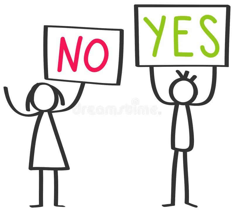 Deux chiffres de protestation, homme et femme de bâton supportant des conseils disant OUI et NON illustration libre de droits