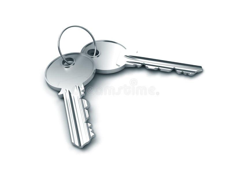 Deux clés argentées image libre de droits