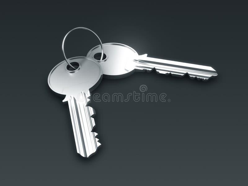 Deux clés argentées illustration de vecteur
