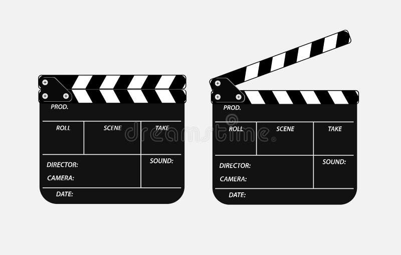 Deux clapets de film s'ouvrent et se ferment d'isolement sur le fond blanc claquette réaliste du film 3d Vue noire de panneau d'a illustration libre de droits