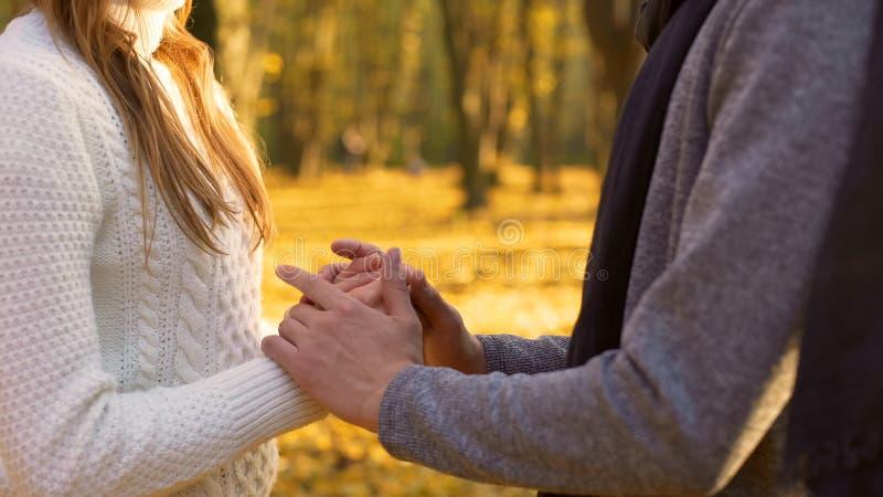 Deux coeurs affectueux se chauffant le jour, la tendresse et l'amour frais d'automne image libre de droits