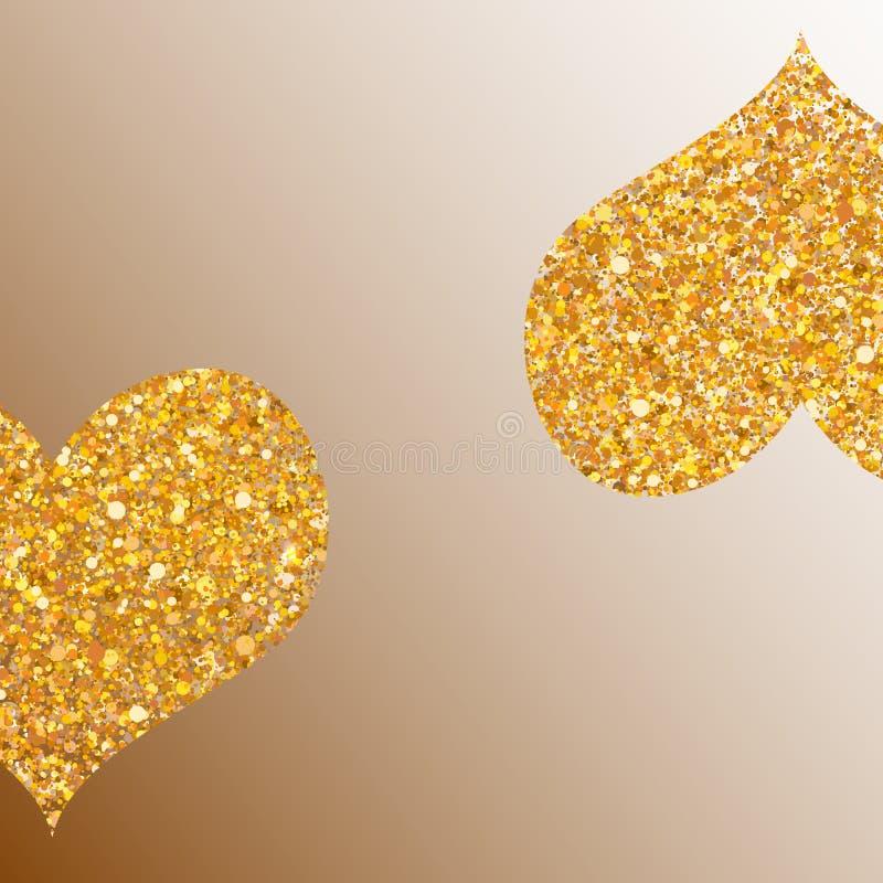 Deux coeurs d'or, vecteur illustration libre de droits