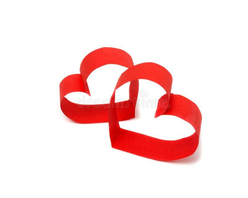 Deux coeurs de papier rouges photographie stock libre de droits
