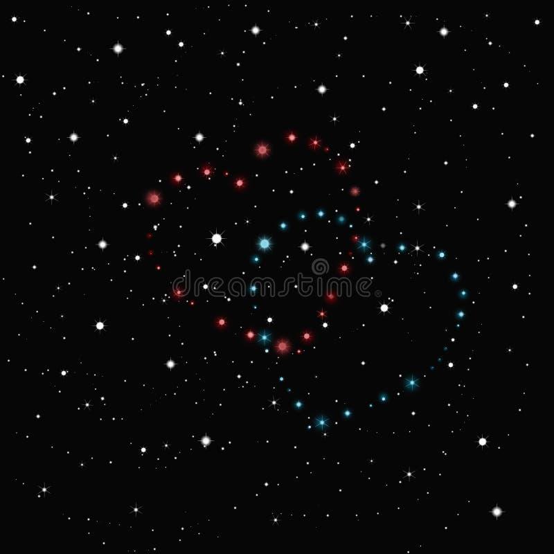 Deux coeurs des étoiles dans le ciel noir répandu avec les étoiles blanches photo libre de droits