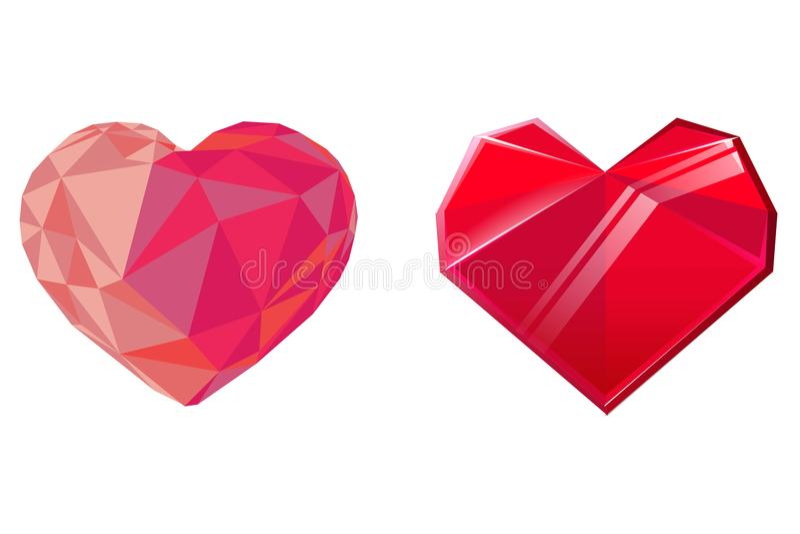 Deux coeurs en cristal rouges d'isolement sur le fond blanc Élément de conception pour le jour de valentines Illustration de vect illustration stock